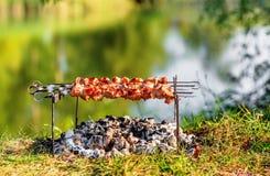 Shashlik della carne di maiale sugli spiedi Fotografia Stock