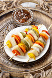 Shashlik made of fish and vegetables Stock Photos