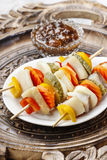 Shashlik made of fish and vegetables Royalty Free Stock Photo
