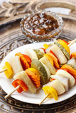Shashlik made of fish and vegetables Royalty Free Stock Images
