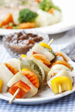 Shashlik made of fish and vegetables Stock Image