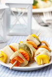 Shashlik made of fish and vegetables Royalty Free Stock Photography