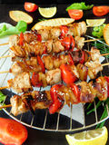 Shashlik made of meat with vegetables Stock Photos