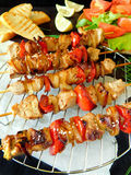 Shashlik made of meat with vegetables Stock Image