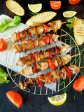 Shashlik made of meat with vegetables Royalty Free Stock Photos