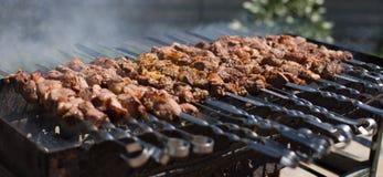 Shashlik oder shashlyk, die auf einen Grillgrill ?ber Holzkohle sich vorbereiten Gegrillte W?rfel des Schweinefleischs auf Metall lizenzfreies stockbild