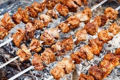 Shashlik over the coals outdoors Stock Photo