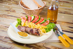 Shashlik on a plate Stock Photography