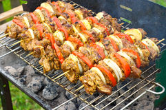 Shashlik preparation Stock Photos