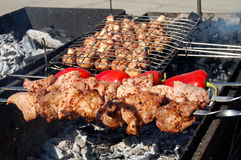Shashlik. Preparation of barbecue meat shish kebab on skewers grill Stock Photography