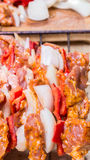Shashlik redy for bbq Royalty Free Stock Photography