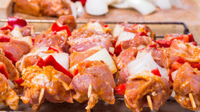 Shashlik redy for bbq Royalty Free Stock Photos