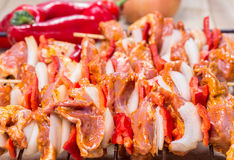 Shashlik redy for bbq Stock Photo