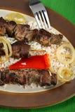 Shashlik with rice Royalty Free Stock Images