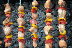 Shashlik with salmon, pepper and tomato Royalty Free Stock Images