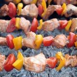 Shashlik with salmon, pepper and tomato Royalty Free Stock Image