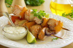 Shashlik of salmon with vegetables Royalty Free Stock Images