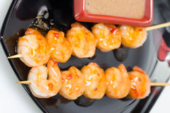 Shashlik with seafood Stock Images