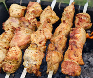Shashlik (shish kebab) georgian barbecue Stock Photos