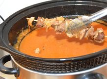 Shashlik skewer and sauce Royalty Free Stock Photos