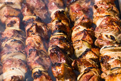 Shashlik on skewers close up Royalty Free Stock Image