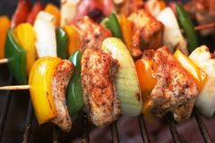Shashlik on spit Stock Photography