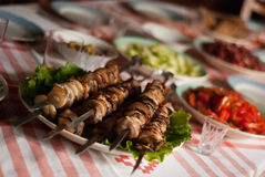 Shashlik on the table Stock Photo