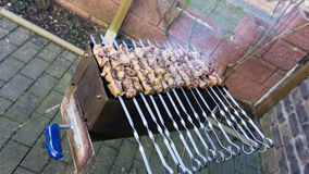 Shashlik  - traditional russian barbecue.  meat on barbeque. food Stock Images
