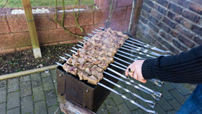 Shashlik  - traditional russian barbecue.  meat on barbeque. smo Stock Photos