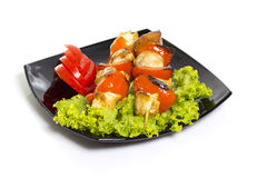 Shashlik with vegetables Royalty Free Stock Photo