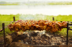 Shashlyk. Cooking shashlik on the shore of the lake Royalty Free Stock Photos