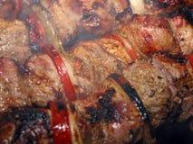 shashlyk a macroistruzione della carne dei kebabs Fotografia Stock Libera da Diritti