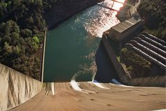 Shasta dam. Dam on  shasta lake in N. California Royalty Free Stock Image