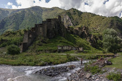 Shatili. Abandoned fortified village with watch towers in Georgi Stock Photos