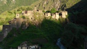 Shatili. Village in Upper Khevsureti, Georgia, at sunrise. Aerial footage.  stock footage