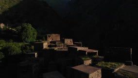 Shatili. Village in Upper Khevsureti, Georgia, at sunrise Aerial Video.  stock video footage
