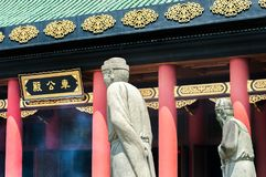 Statues outside the main hall at Che Kung Temple, Sha Tin, Hong Kong. SHATIN, HONG KONG - SEPT 15, 2015 - Statues outside the main hall at Che Kung Temple, Sha royalty free stock image