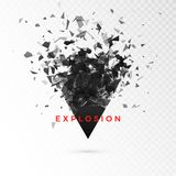 Shatter dark triangle. Abstract cloud of pieces after explosion. Vector illustration isolated on transparent background.  royalty free illustration
