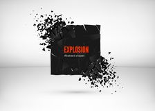 Shatter and destruction dark square effect. Abstract cloud of pieces and fragments after explosion. Vector illustration. Isolated on gray background vector illustration