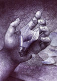 Shattered. Description: A ballpoint drawing of a hand holding a broken light bulb. This drawing is entirely of my own invention and execution. If you can, please Royalty Free Illustration
