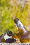 Shattered beer bottle resting on the ground: alcoholism concept stock images