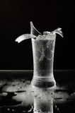 Shattered beer glass isolated on the dark background stock image