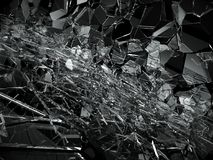 Shattered or broken glass over black. Background. 3d rendering 3d illustration Royalty Free Stock Images