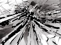 Shattered or broken glass Pieces on black. 3d rendering 3d illustration Royalty Free Stock Photo