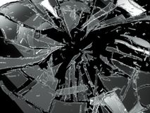 Shattered or broken glass Pieces isolated. On black background royalty free stock image