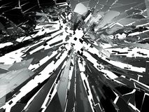 Shattered or broken glass Pieces on white. 3d rendering 3d illustration Stock Photo