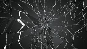Shattered or broken glass Pieces on white. High resolution 3d illustration, 3d rendering Stock Photos