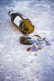 Shattered brown beer bottle Royalty Free Stock Photos