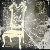 Shattered Chair. Background illustration of a vintage chair over text and shattered glass background stock illustration