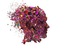 Shattered colorful glass Head side view Stock Photo
